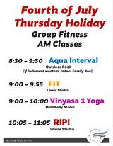 Fourth of July Thursday Holiday Schedule July 2019