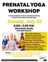 Prenatal Yoga Workshop July 21